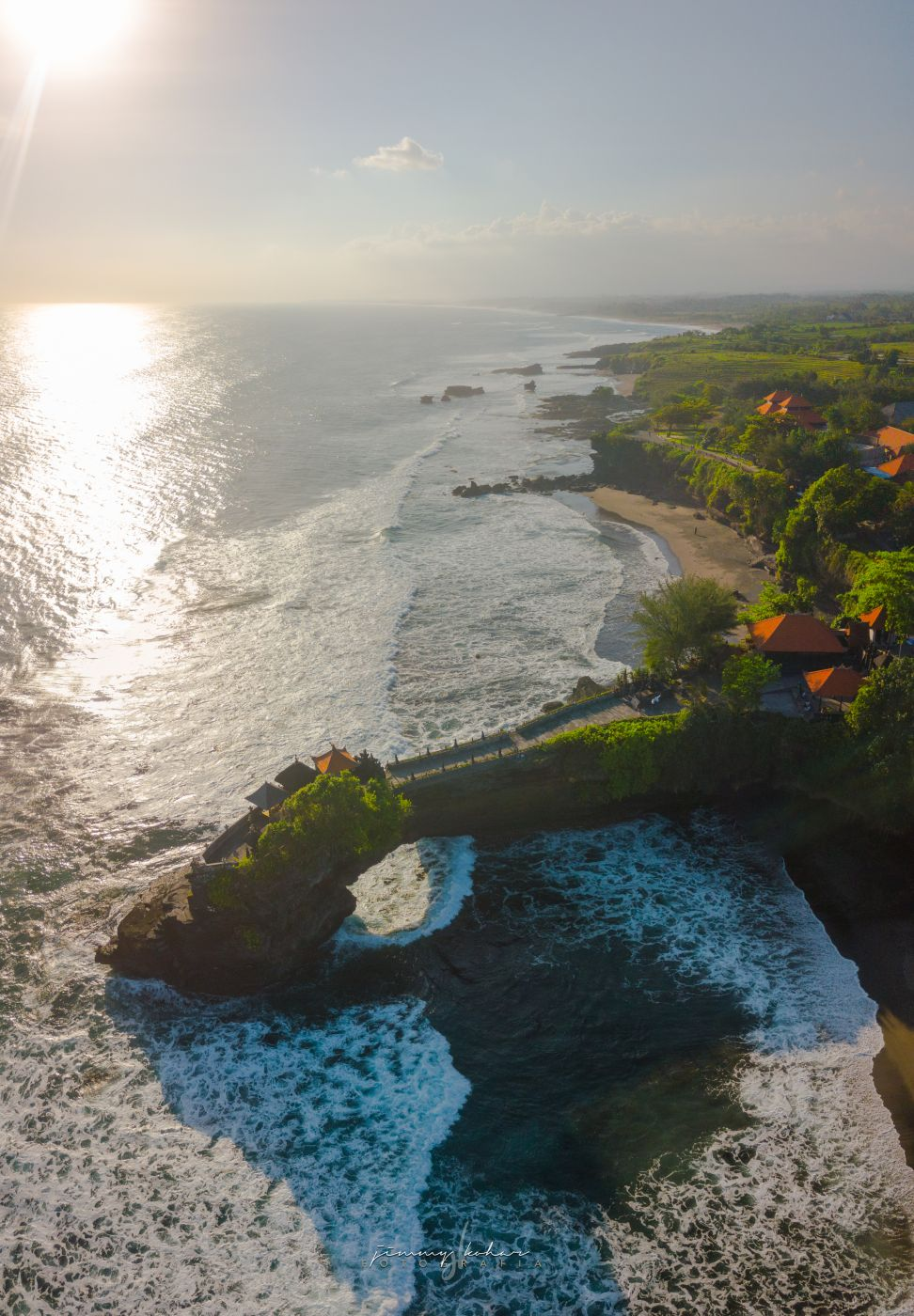 Pura Batu Bolong from Above, Indonesia