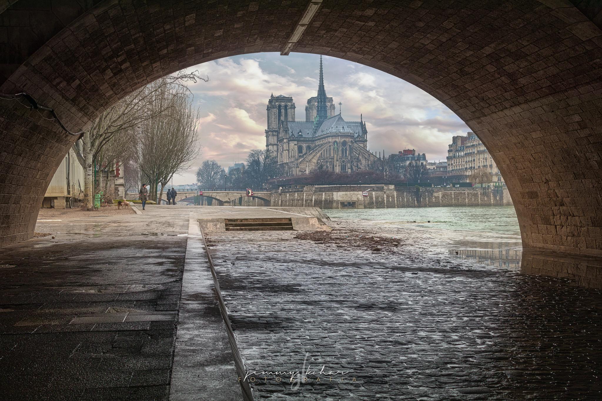 Tunnel Into Notre Dame De Paris France