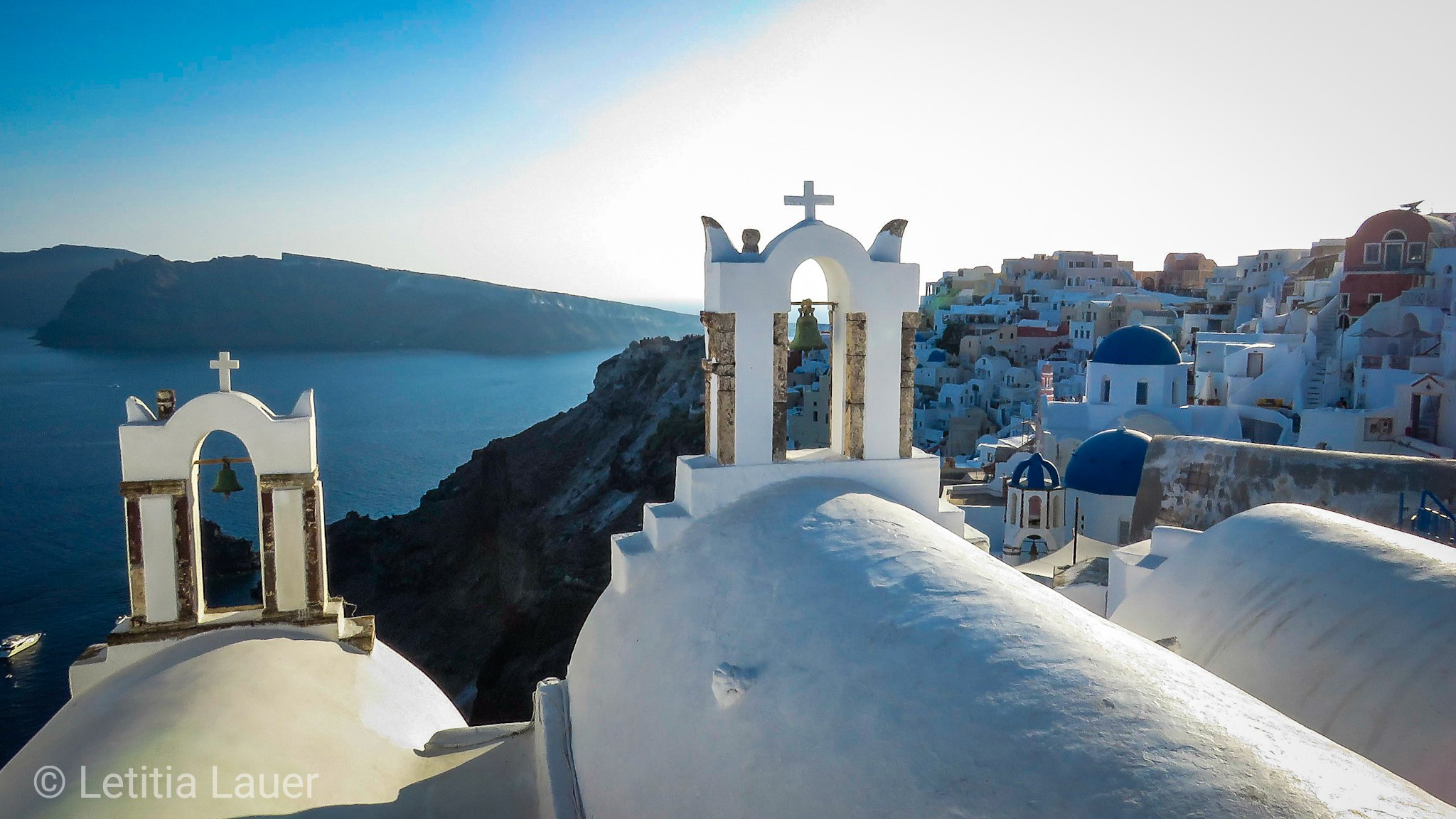3 Blue Domes In Oia, Greece