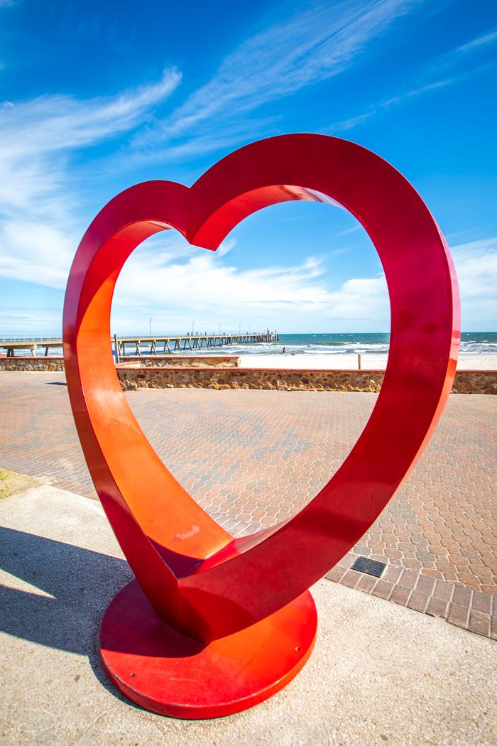 Glenelg Pier through a Heart Adelaide, Australia