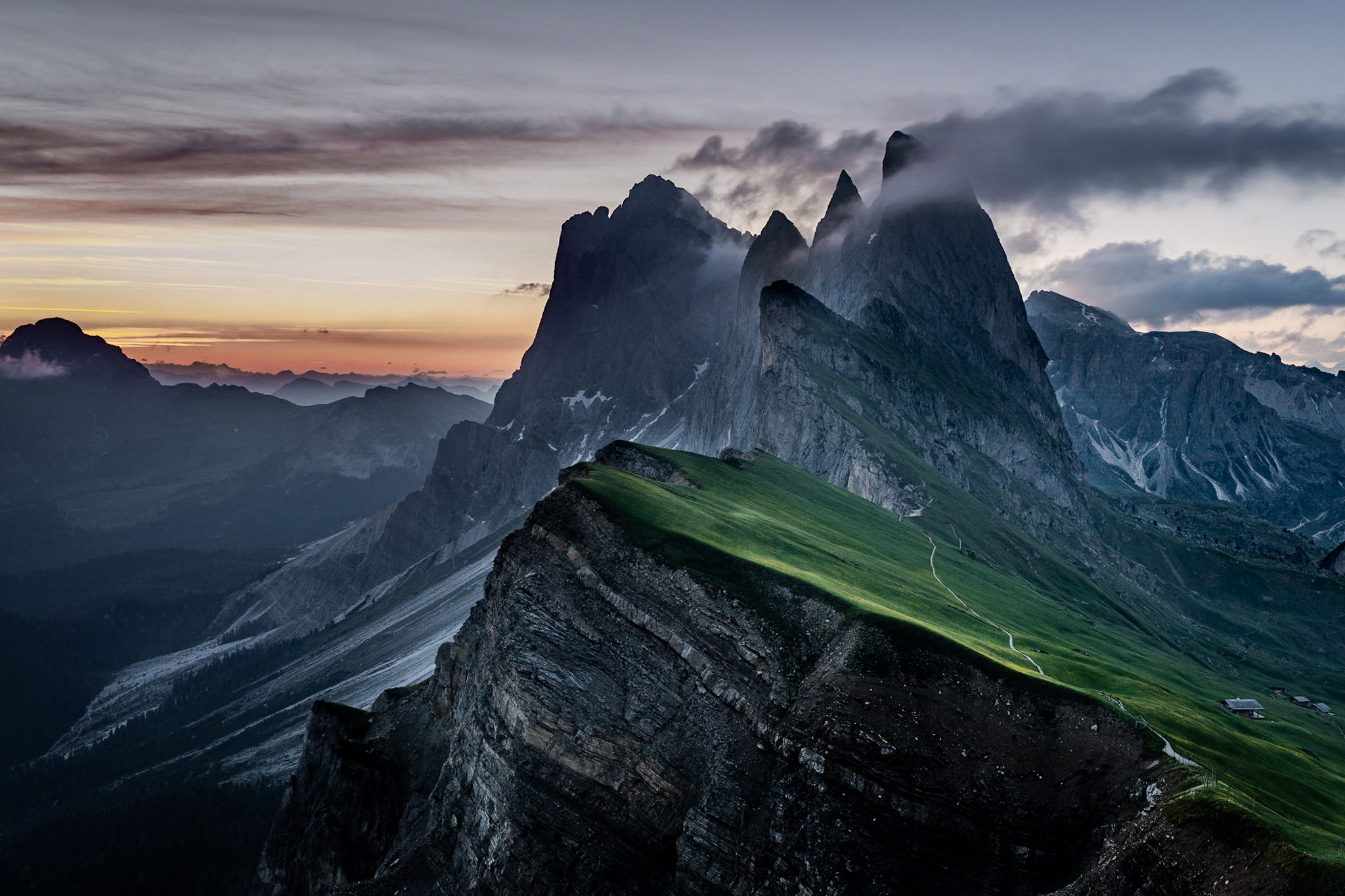 Seceda classic view point, South Tyrol, Italy