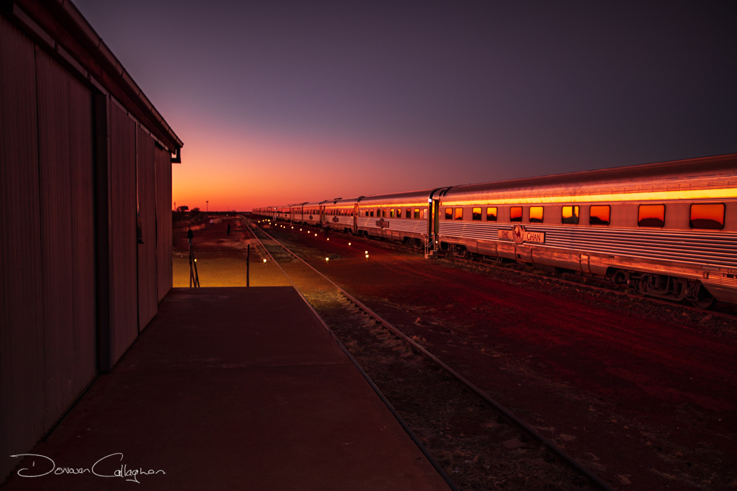 Sun Rise on the Ghan at Marla South Australia, Australia