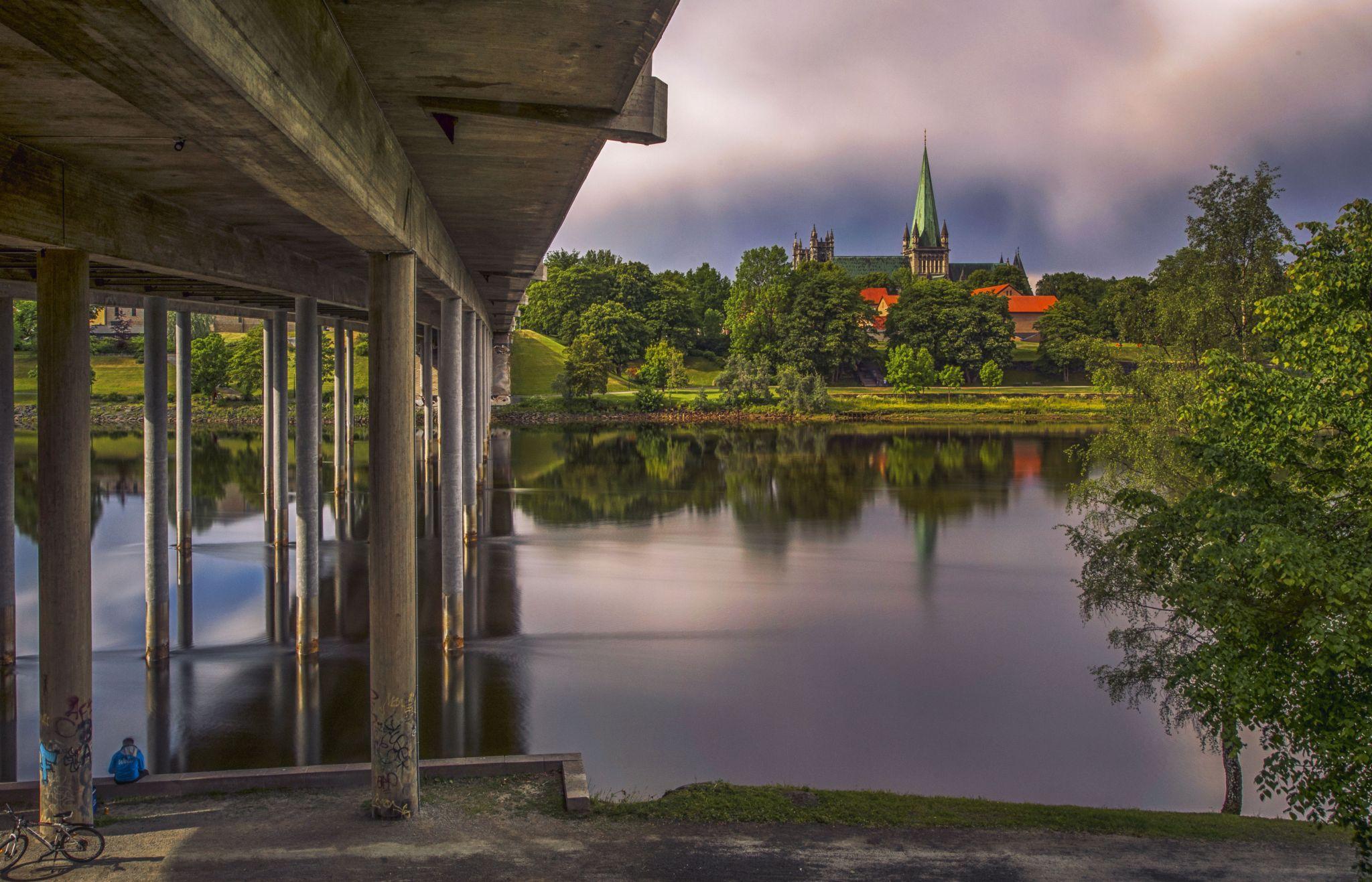 View of Nidarosdom over Nidelva river, Norway