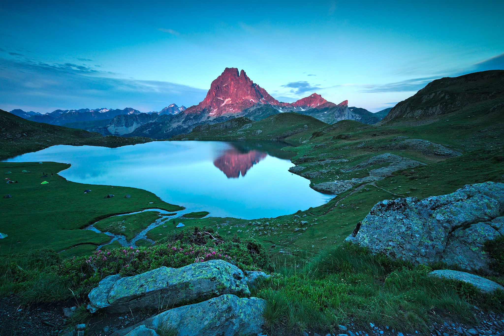 View on Ossau summit from Ayous lake, France