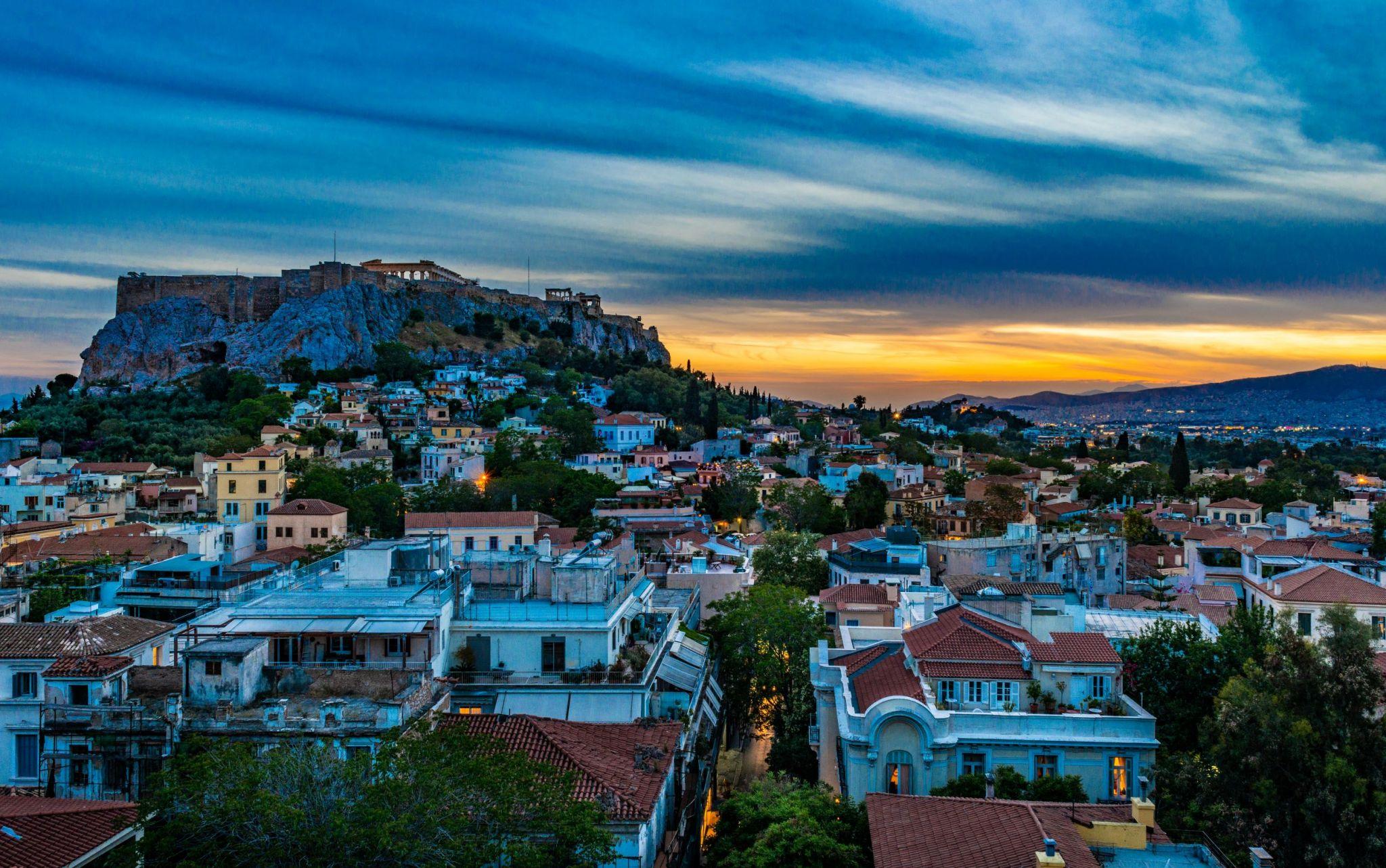 Athens Plaka view on the Acropolis, Greece