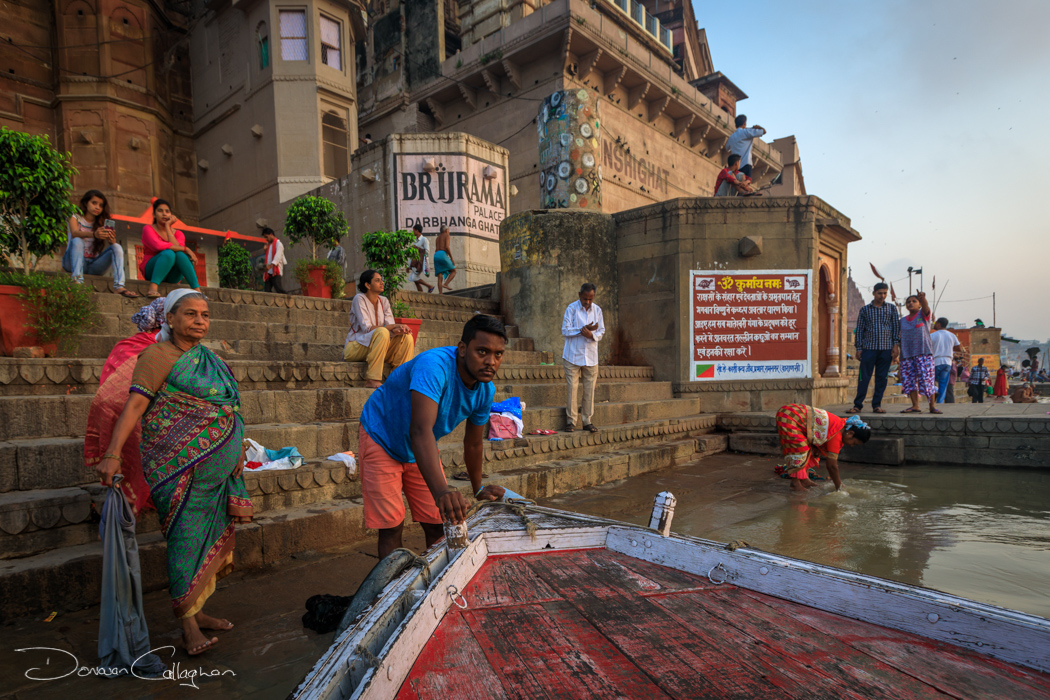Launching a boat on the Ganges Varanasi, India