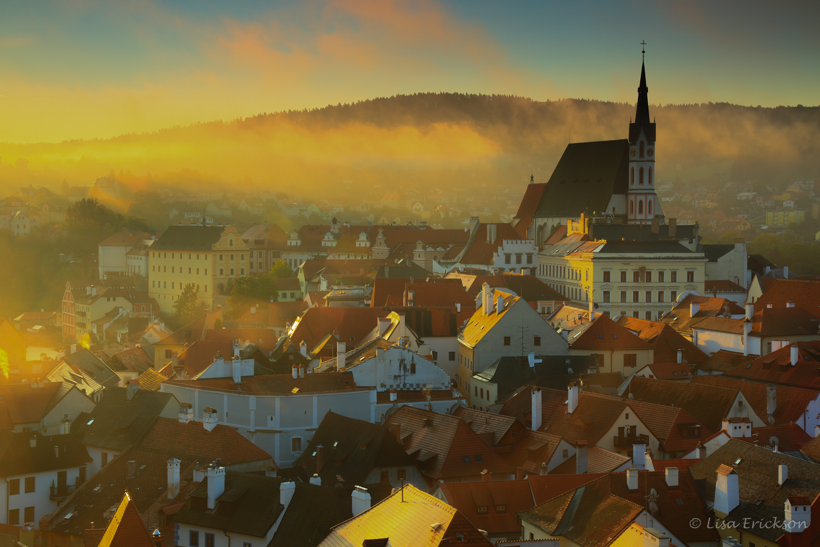 Overlook of city at sunrise, Czech Republic
