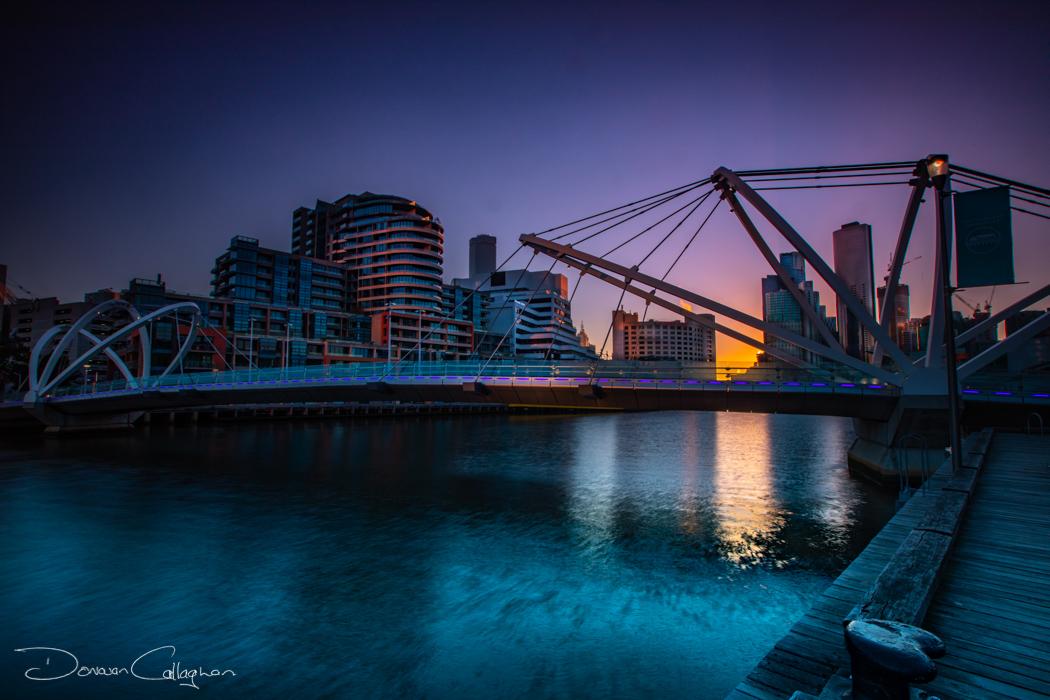 Seafarers Bridge Yarra River Melbourne sunrise, Australia