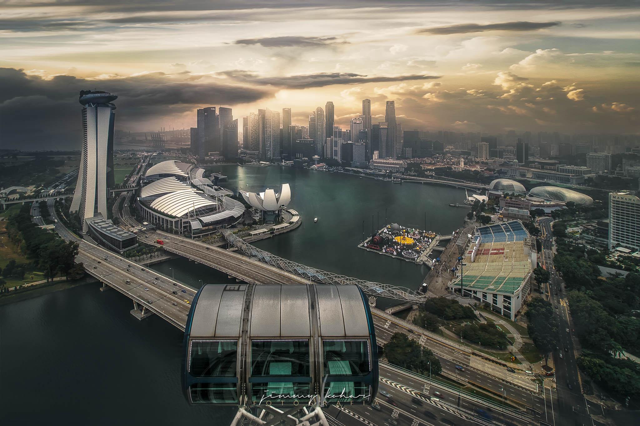 Skyline from Singapore Flyer, Singapore