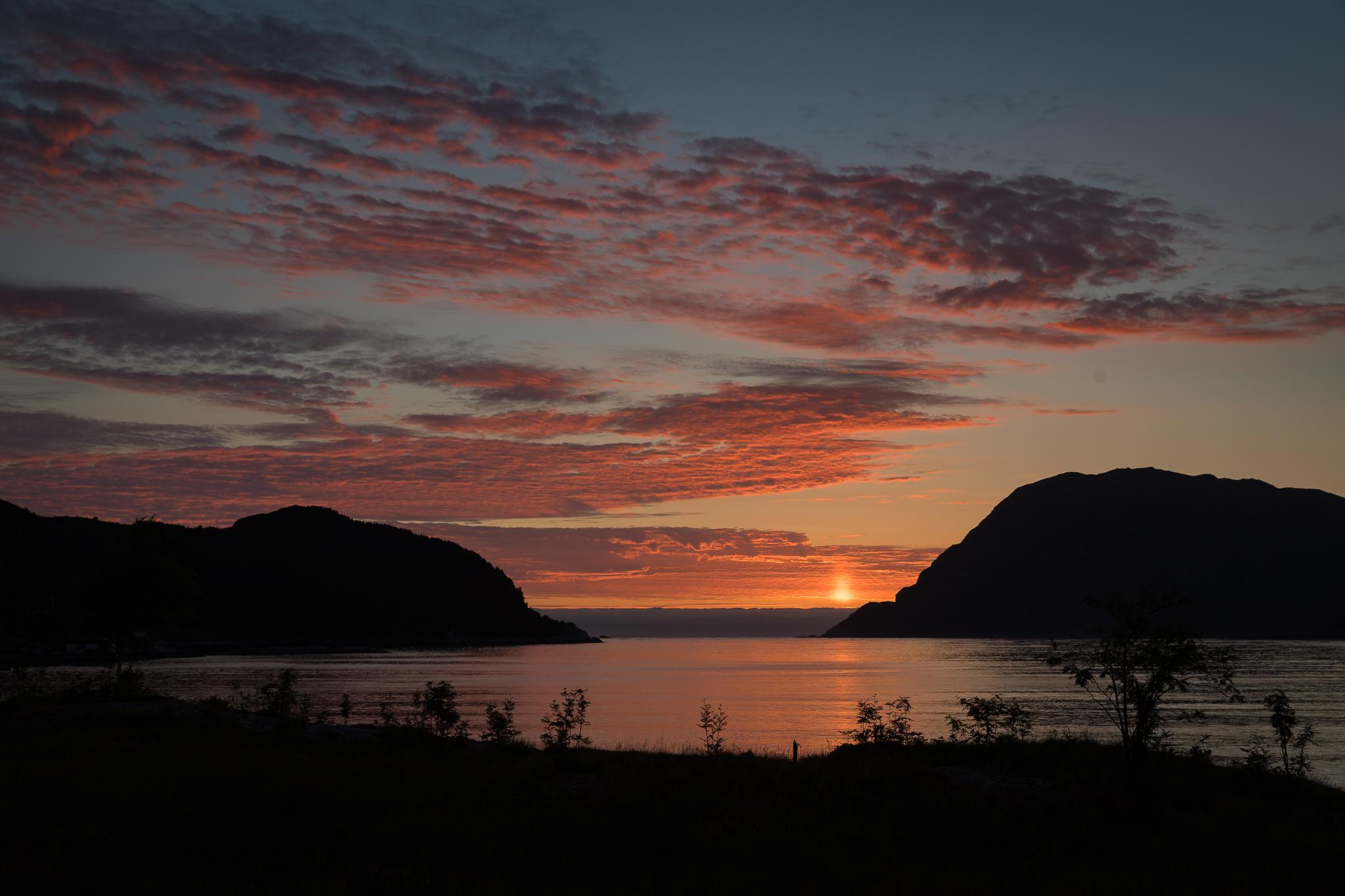 Sunset view at Husevåg, Norway