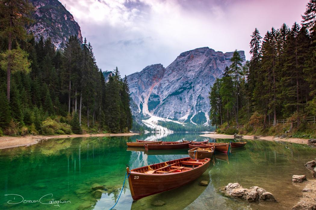 Boats at Lago di Braies, Dolomites Italy, Italy