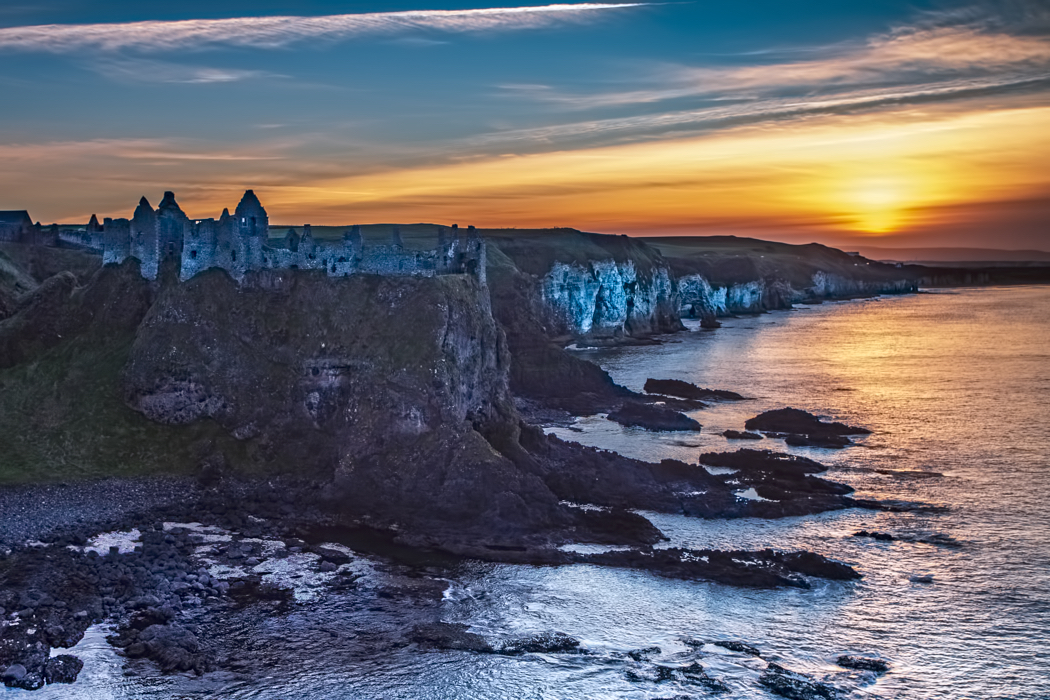 Dunlace Castle sunset County Antrim Northen Ireland, United Kingdom