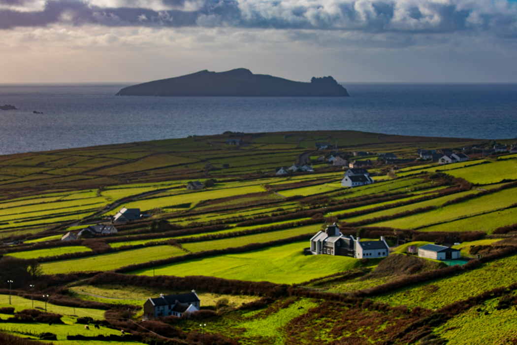 Dunquin Harbour the fields as you arrive, Ireland