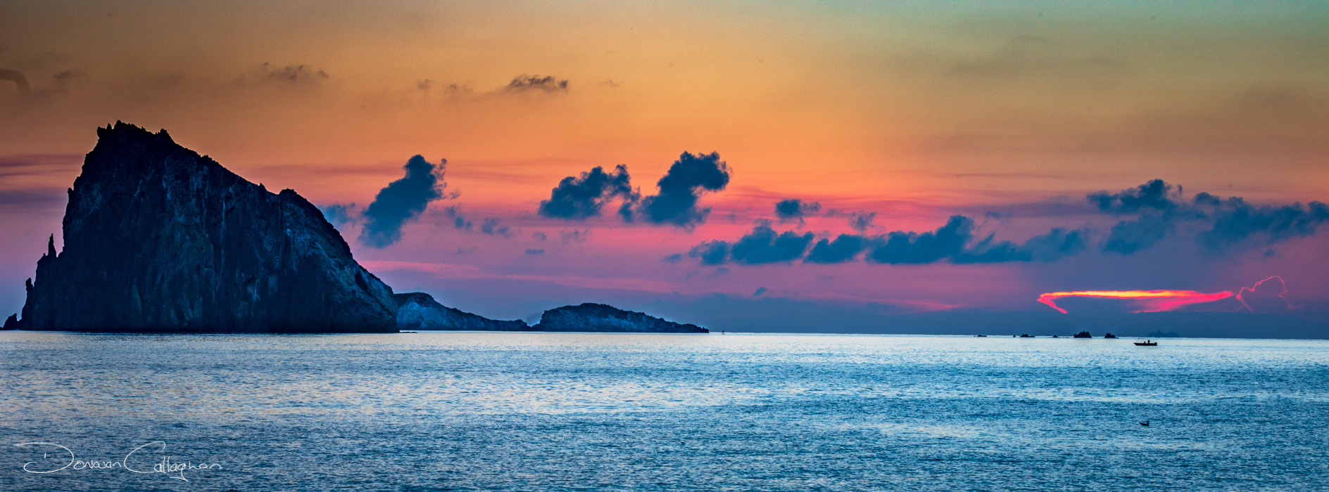 Panarea Dattilo Island Sunrise Panorama, Italy