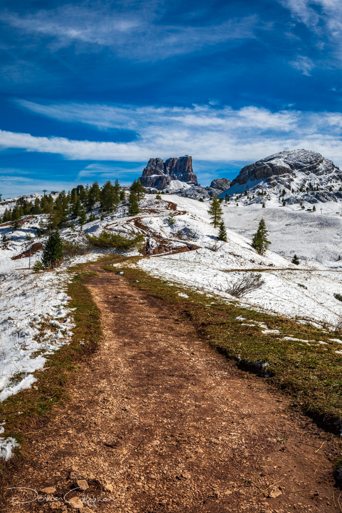 Passo falzarego track to mountain Dolomites, Italy