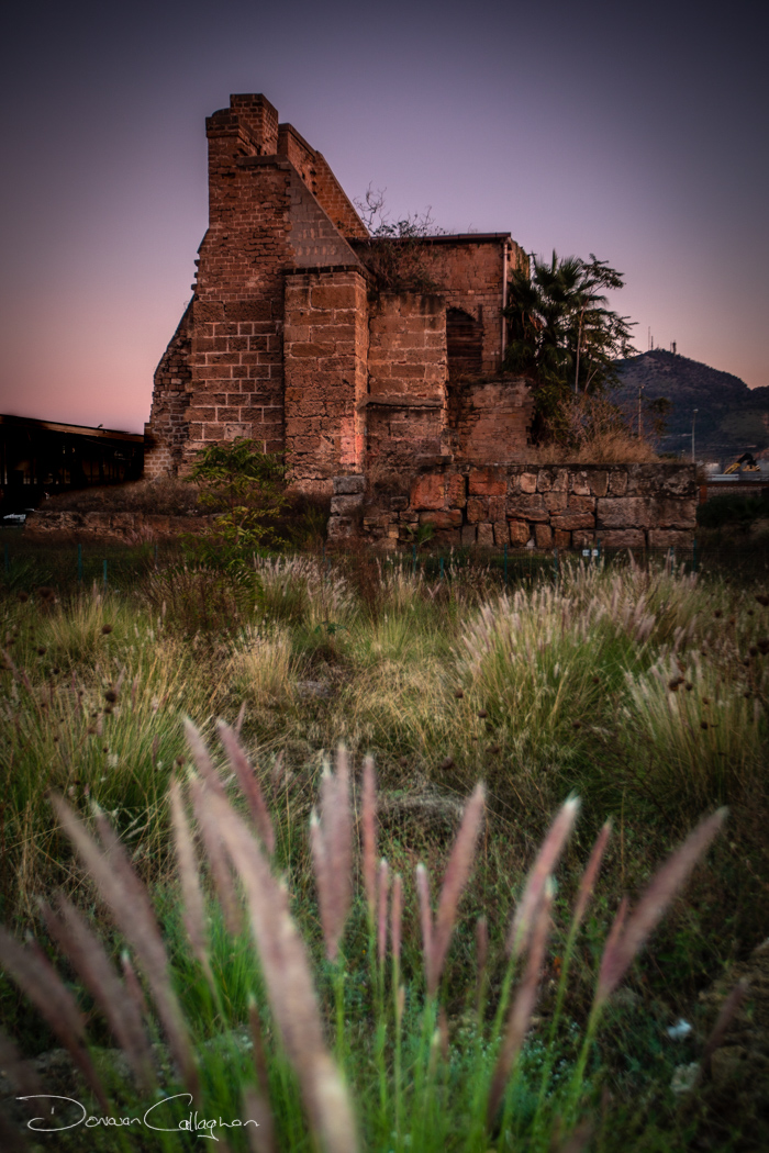 Ruin near the fishing boats Palermo Sicily, Italy