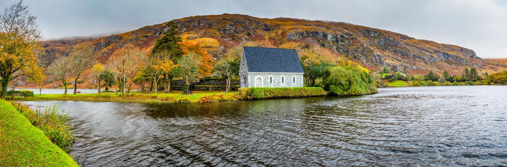 St Finbarr's Oratory Pano Autumn Ballingeary, Co. Cork, Ireland