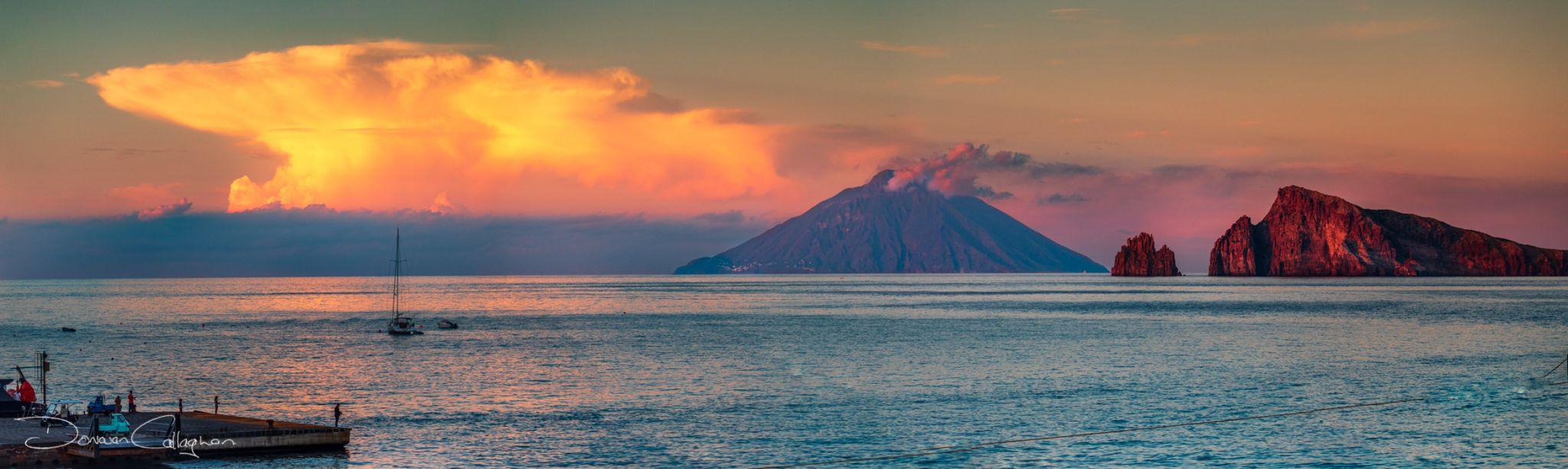 Sunset Stomboli from Panarea Italy, Italy