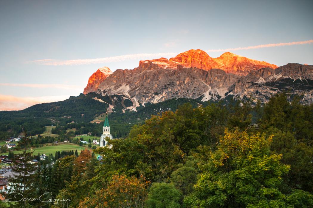 The church and mountain Cortina d'Ampezzo, Italy