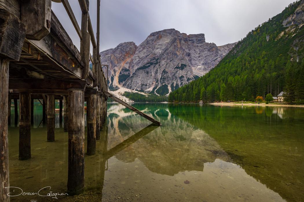 The Pier Lago di Braies Prager Wildsee , Dolomites Italy, Italy
