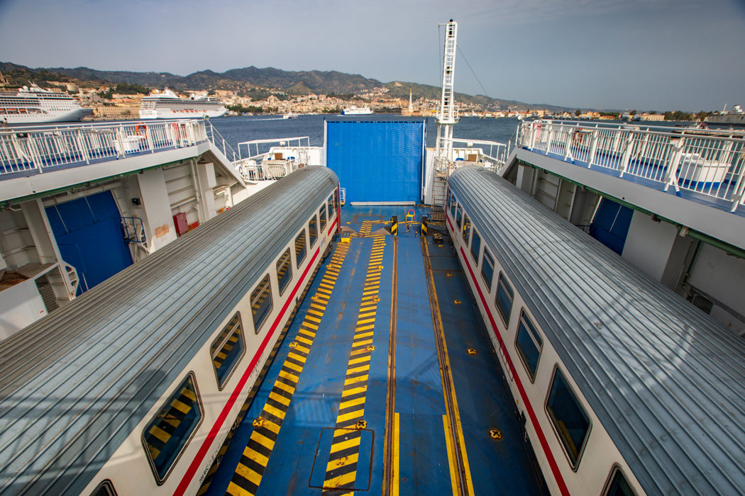 Train Carriages on a boat Messina, Italy