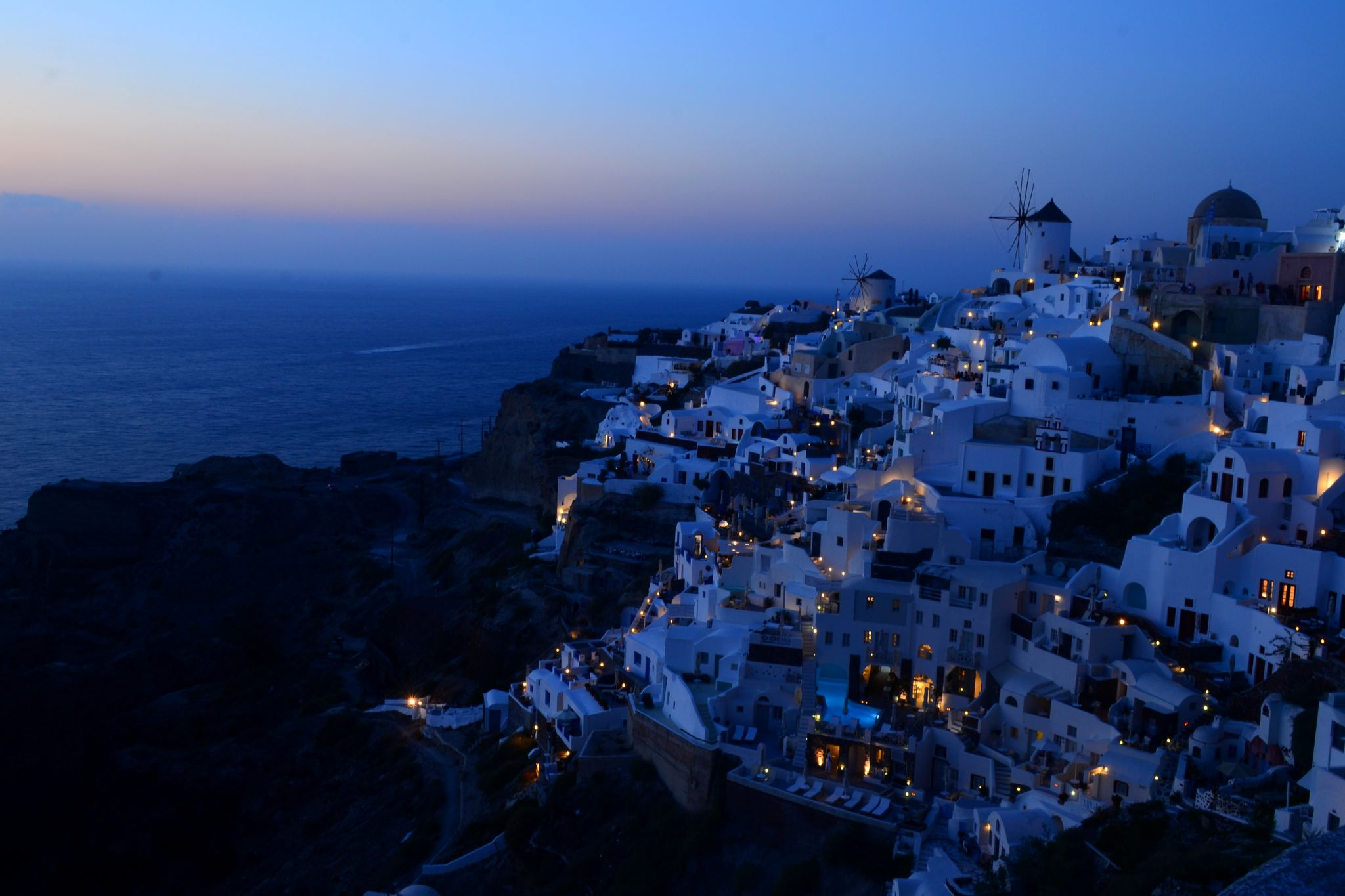 Blue Hour of OIA Town from Castle Ruin, Greece
