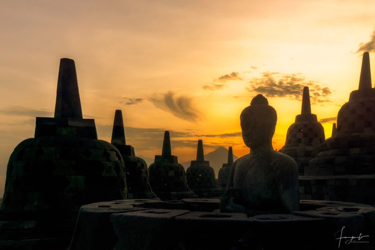 Sunrise Silhouette At Borobudur, Indonesia