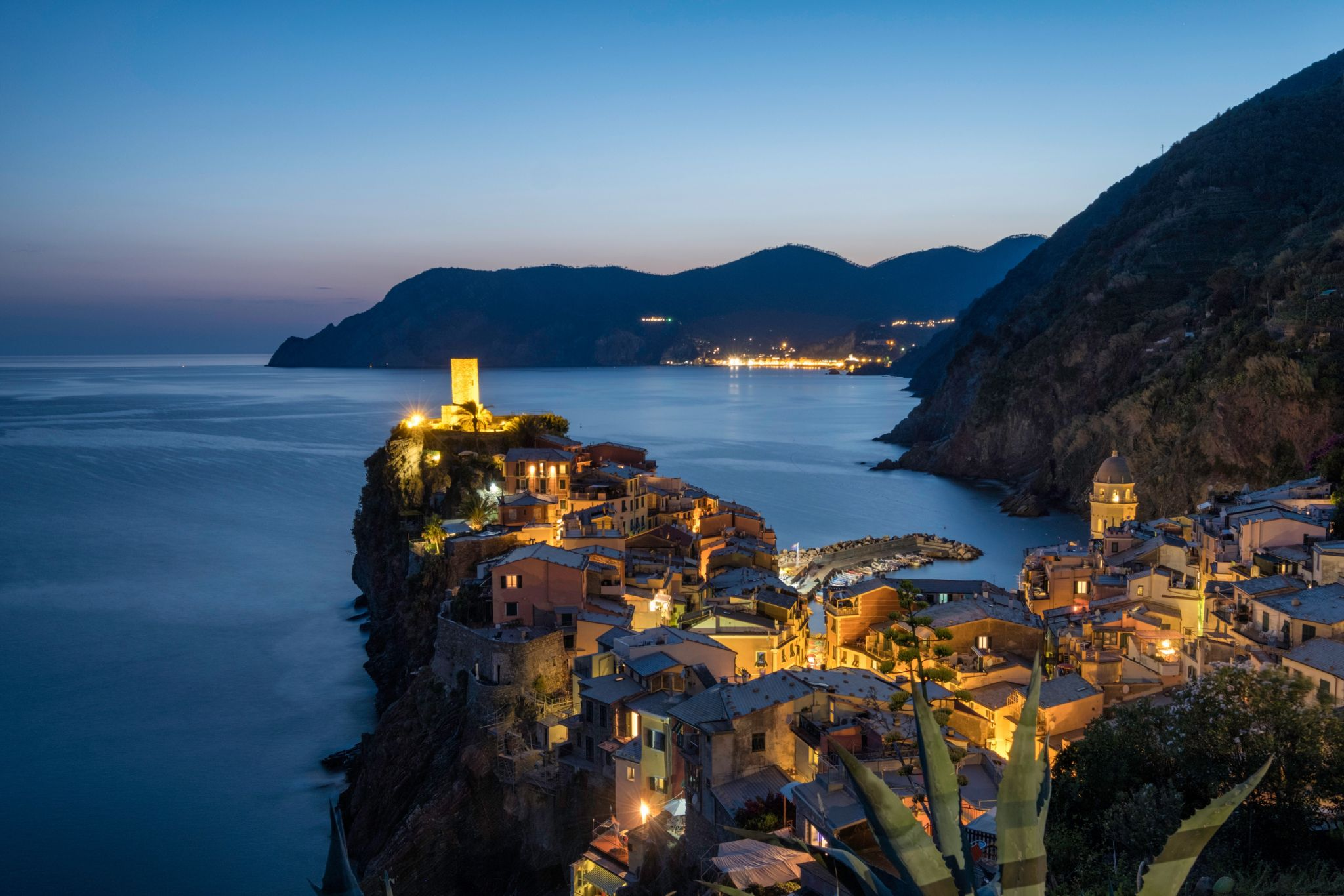 Vernazza from the hiking trail above the town, Italy