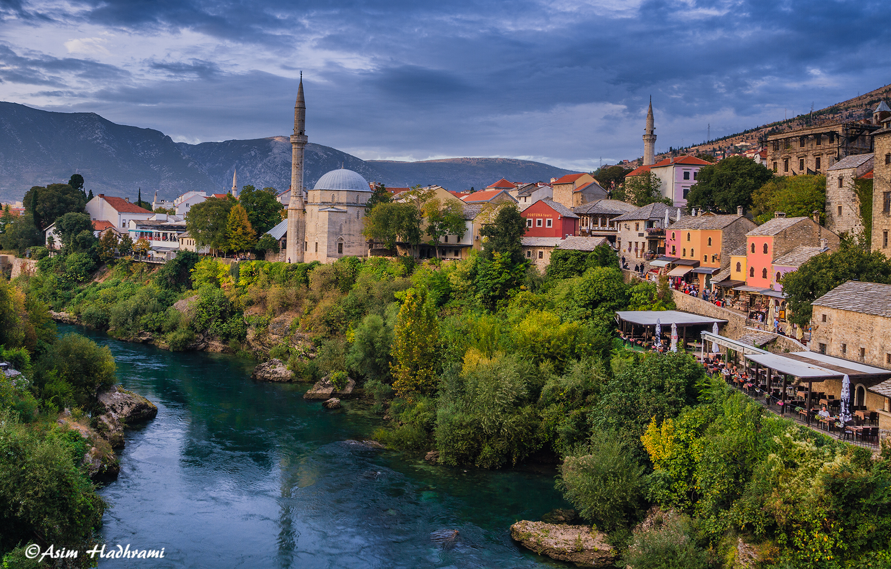 View of Mostar from the Old Bridge, Bosnia and Herzegovina