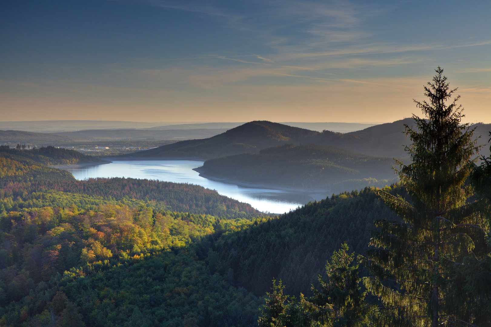 View from Borberg towards Granetalsperre, Germany