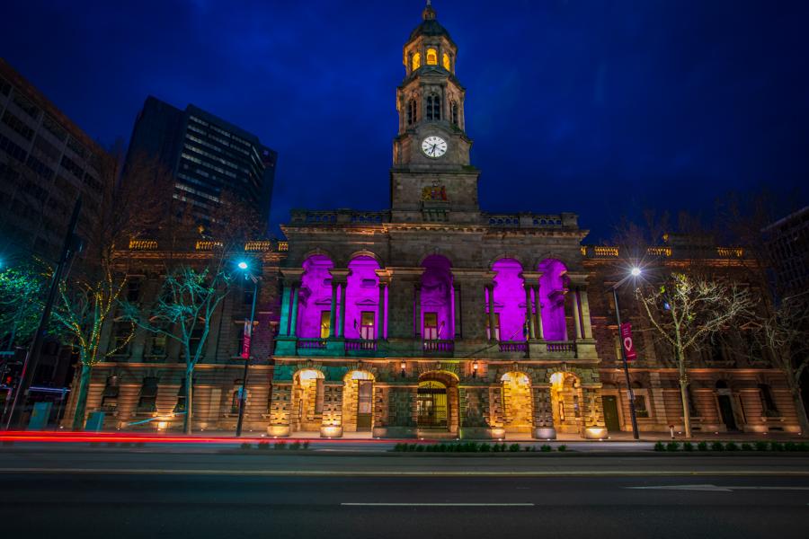 Adelaide Town Hall pre dawn, Australia