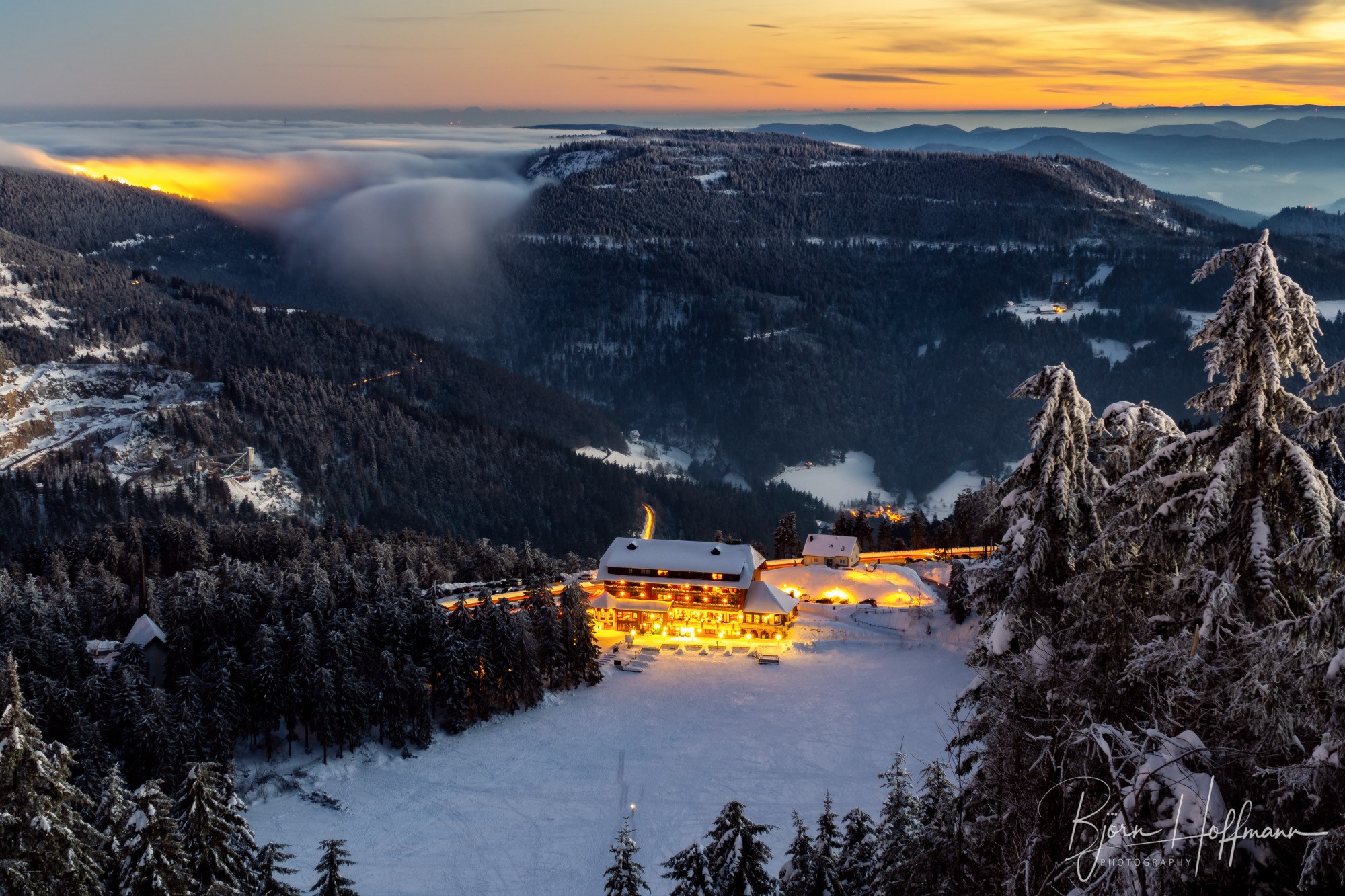 Hornisgrinde, View to Mummelsee & Fog Wave, Germany