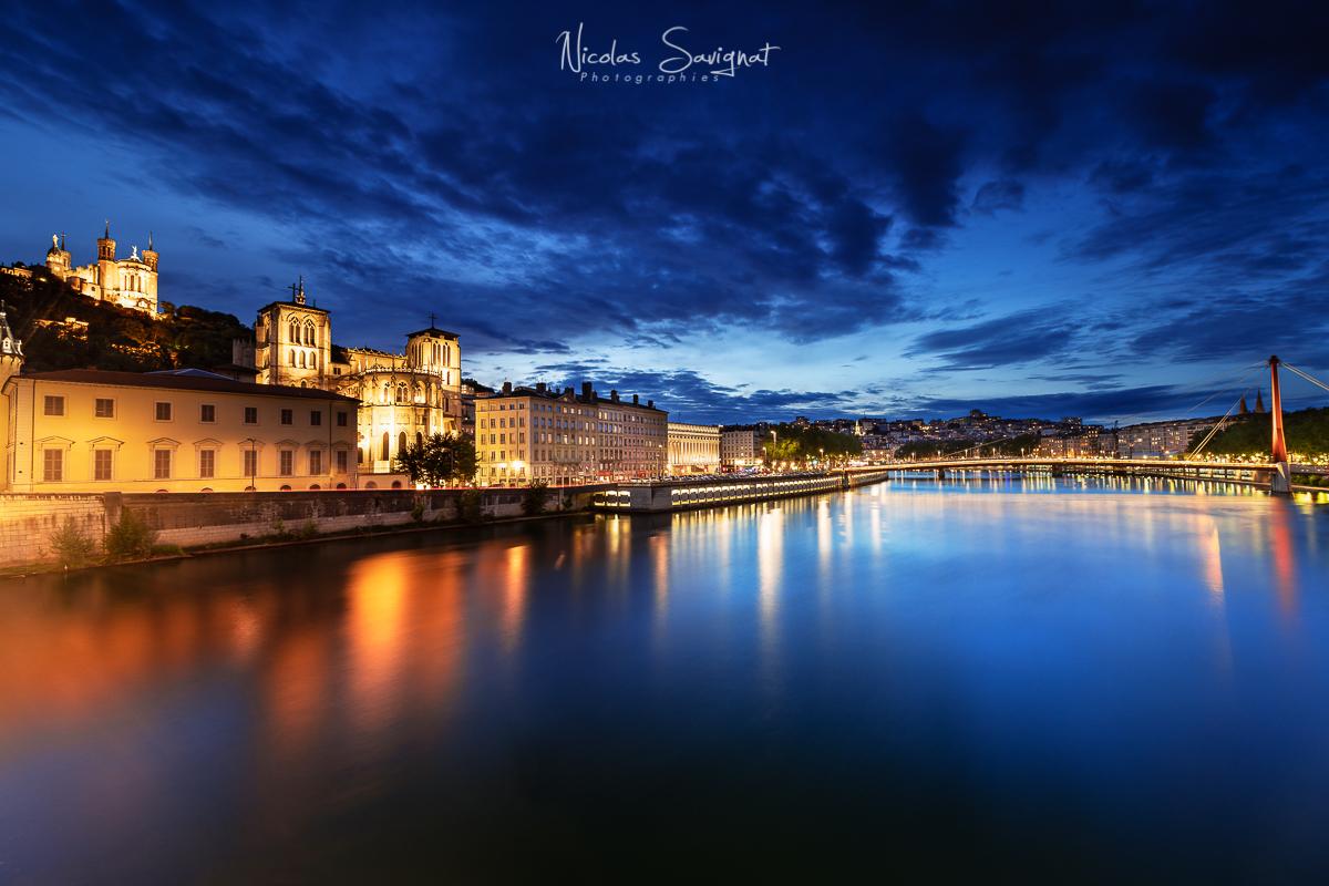 Lyon at Blue Hour, France
