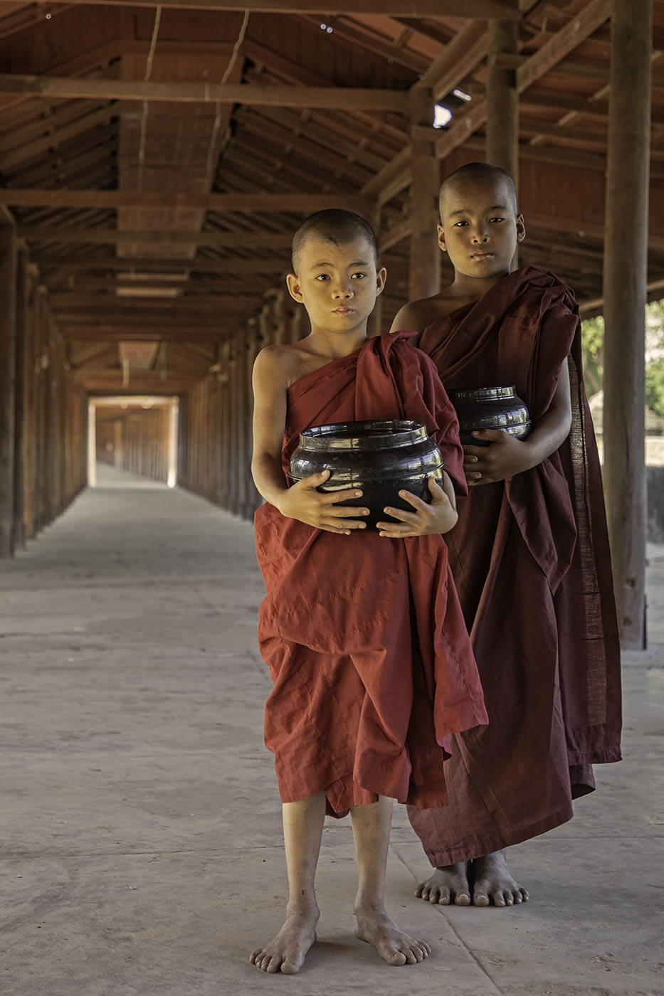 salay wooden temple, Myanmar