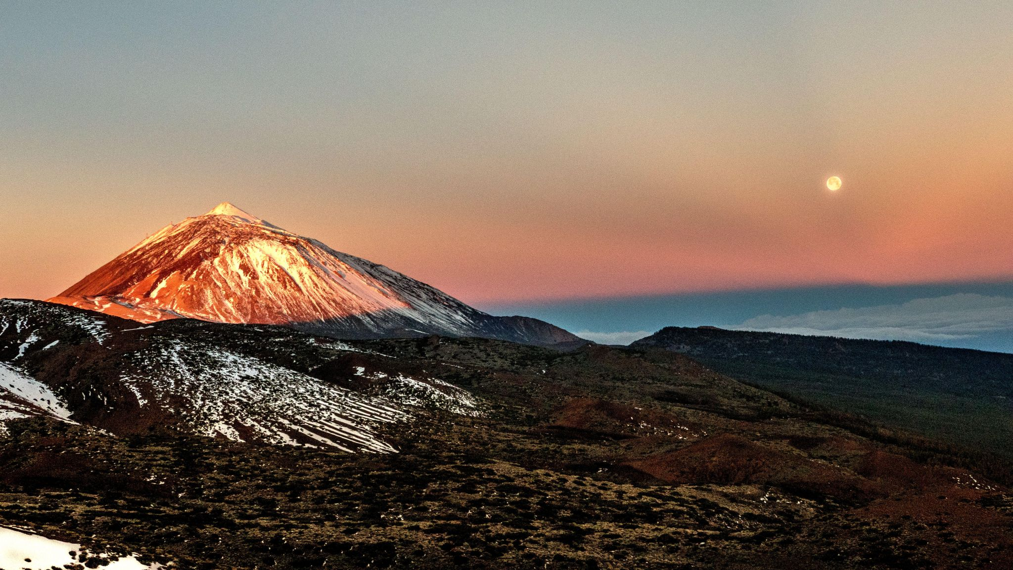 Teide with full moonset, Spain