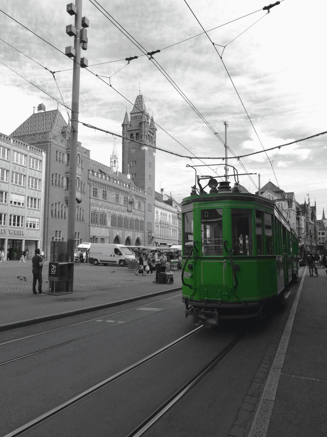 Vintage tram in Basel, Switzerland