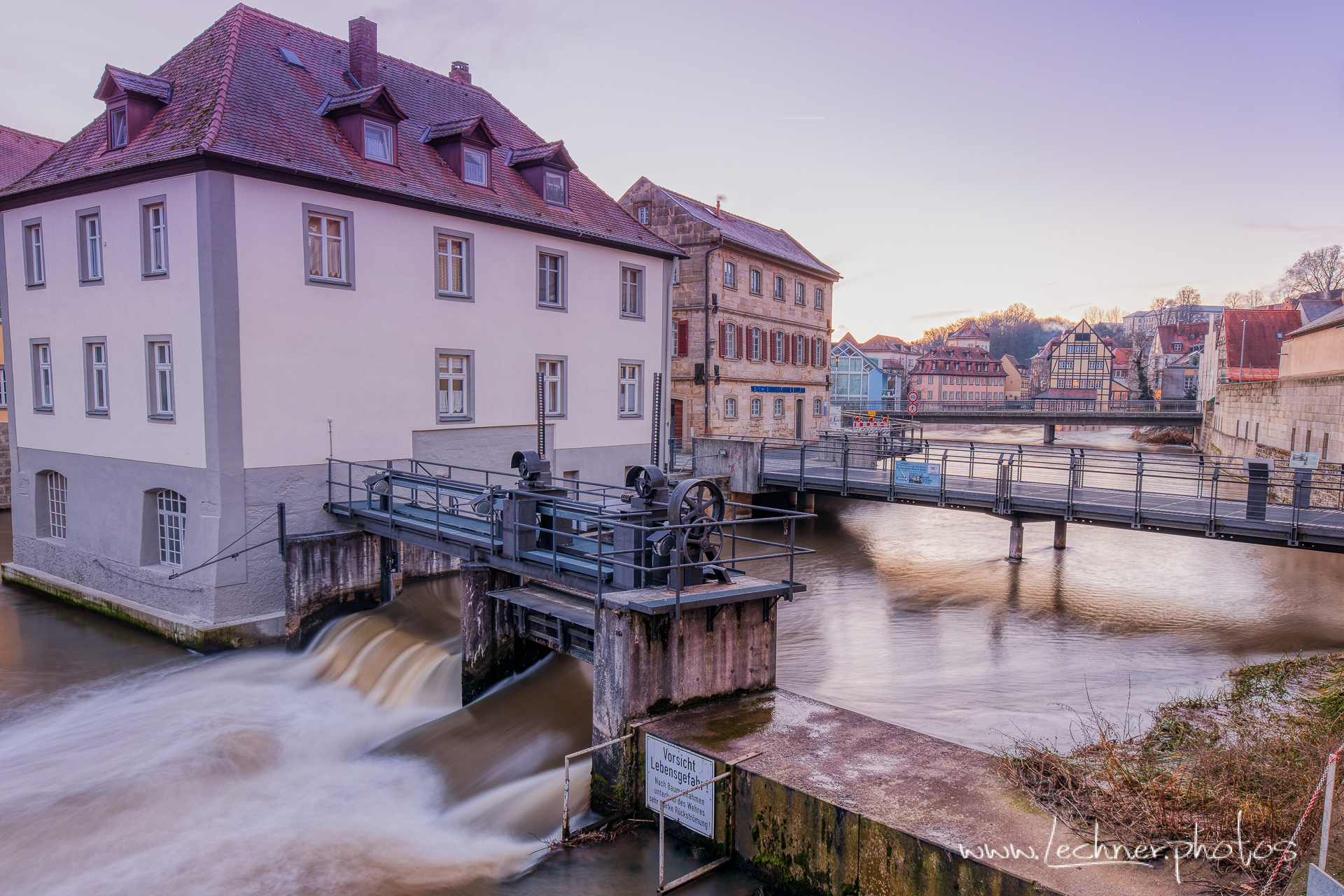 Water dam over the river Regnitz, Germany