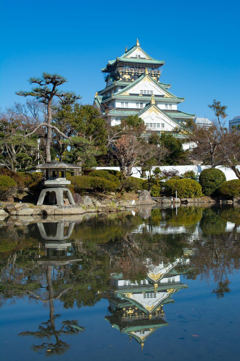 Zen garden shot of Osaka Castle, Japan