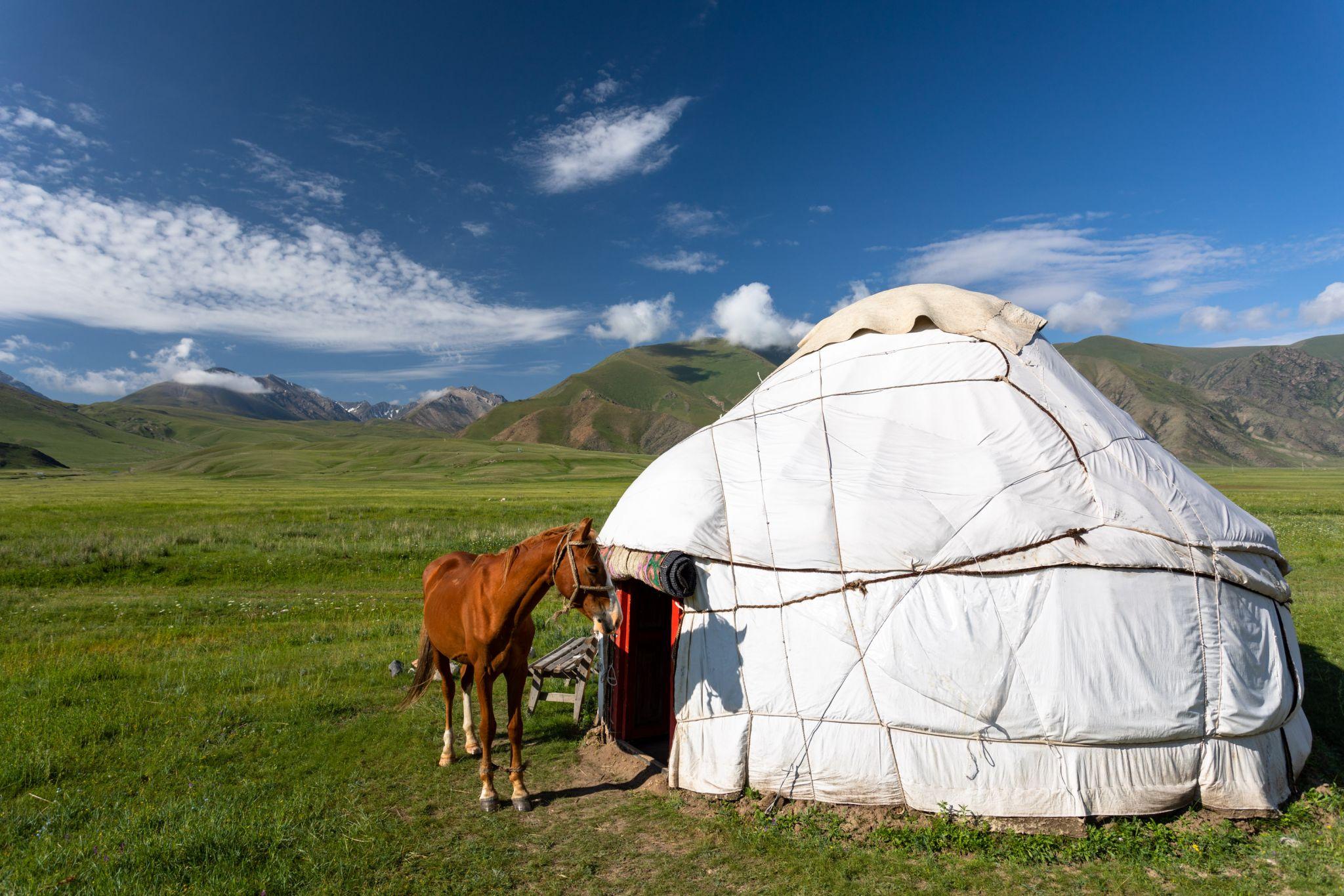 Jurtencamp bei Tarasu in Kirgistan, Kyrgyz Republic