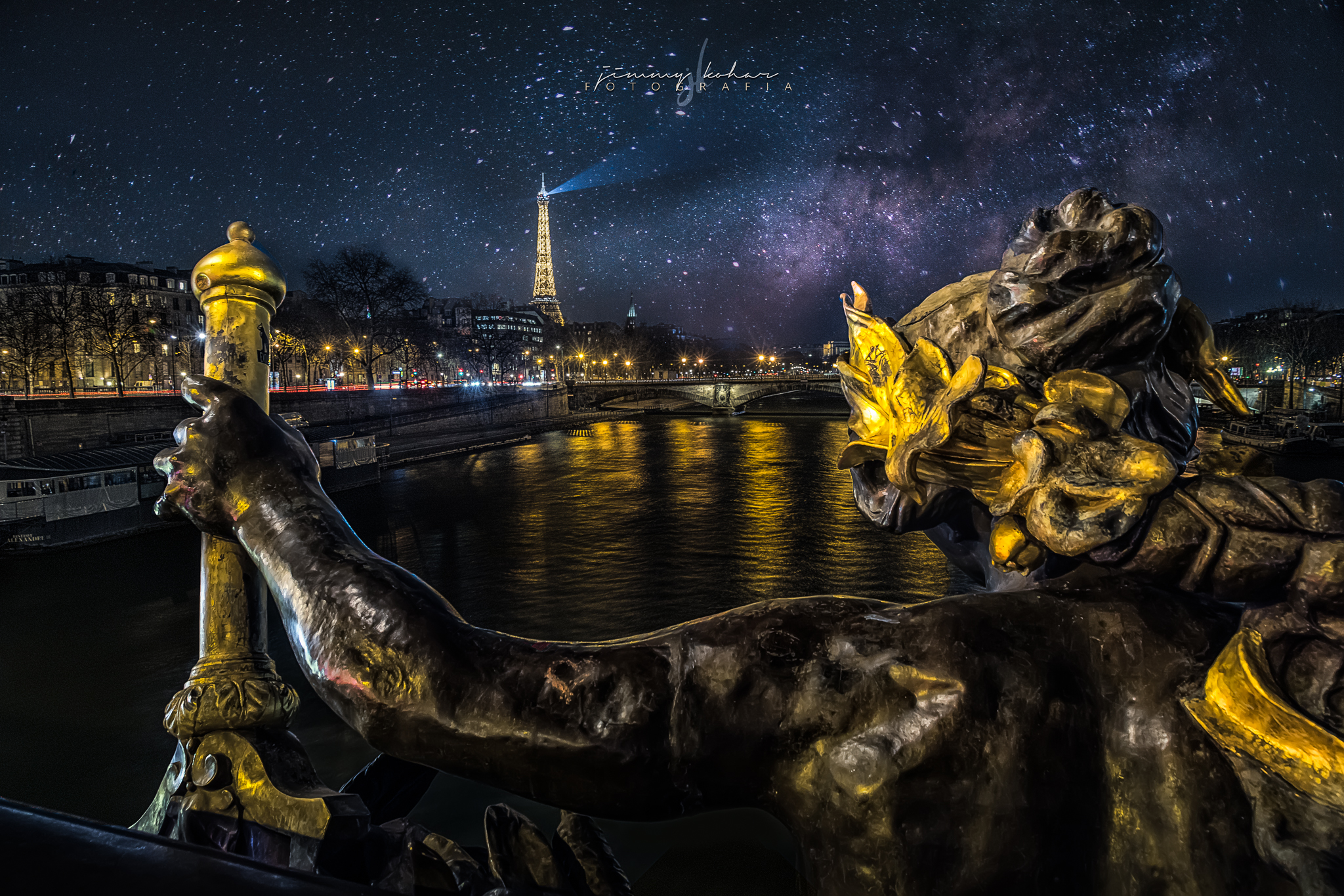 Paris at Night from Pont Alexandre III, France