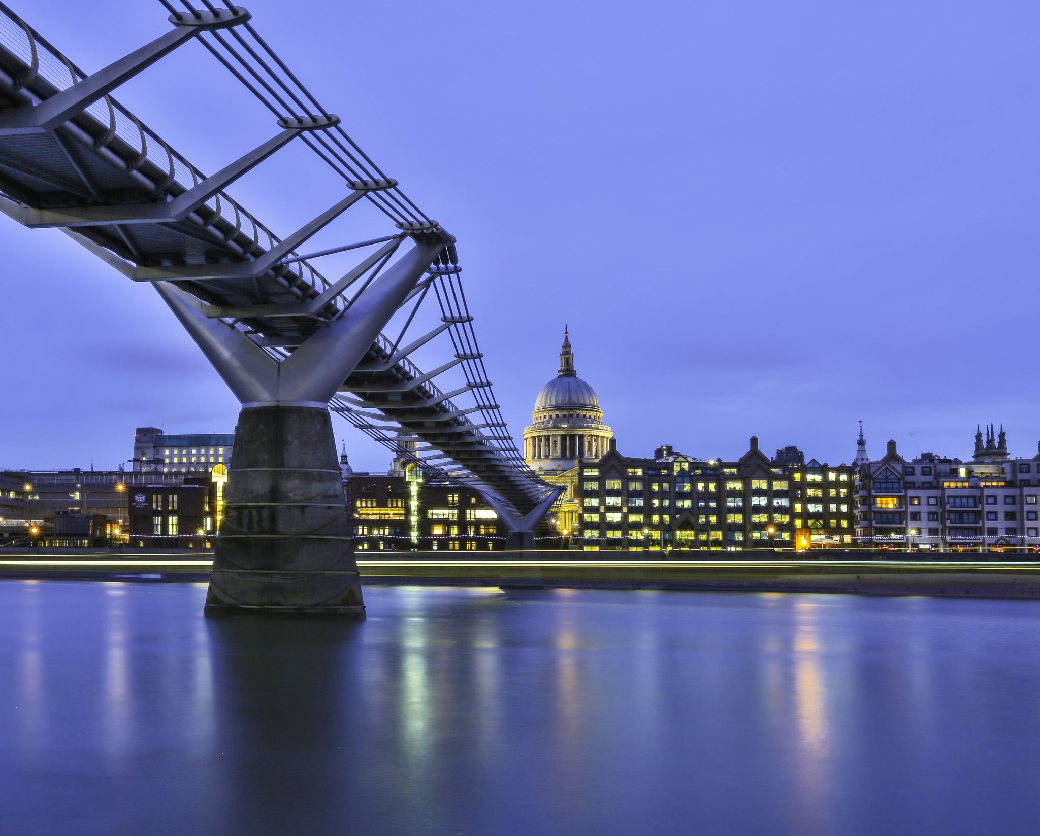 St Paul's Cathedral from under the Millennium Bridge, United Kingdom