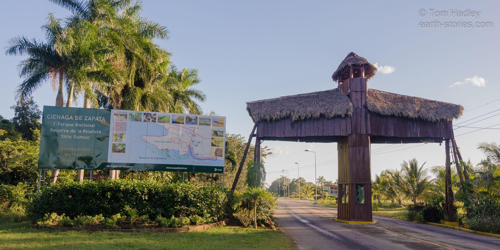 Entrance to Cienaga de Zapata National Park, Cuba