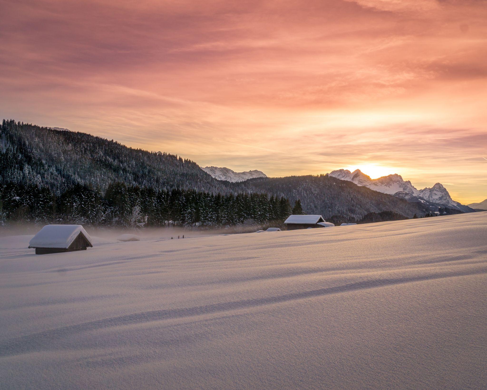 Geroldsee winter sunset, Germany