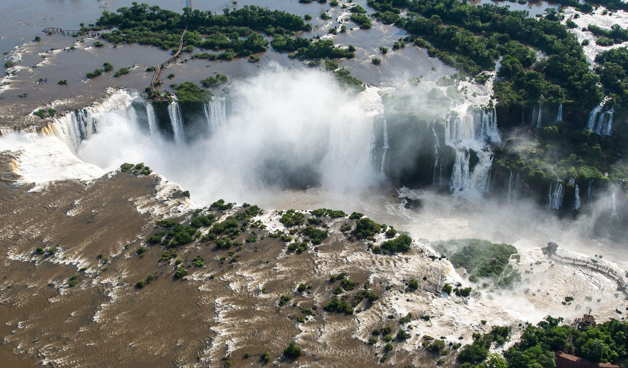 Iguazu Falls from helicopter, Argentina