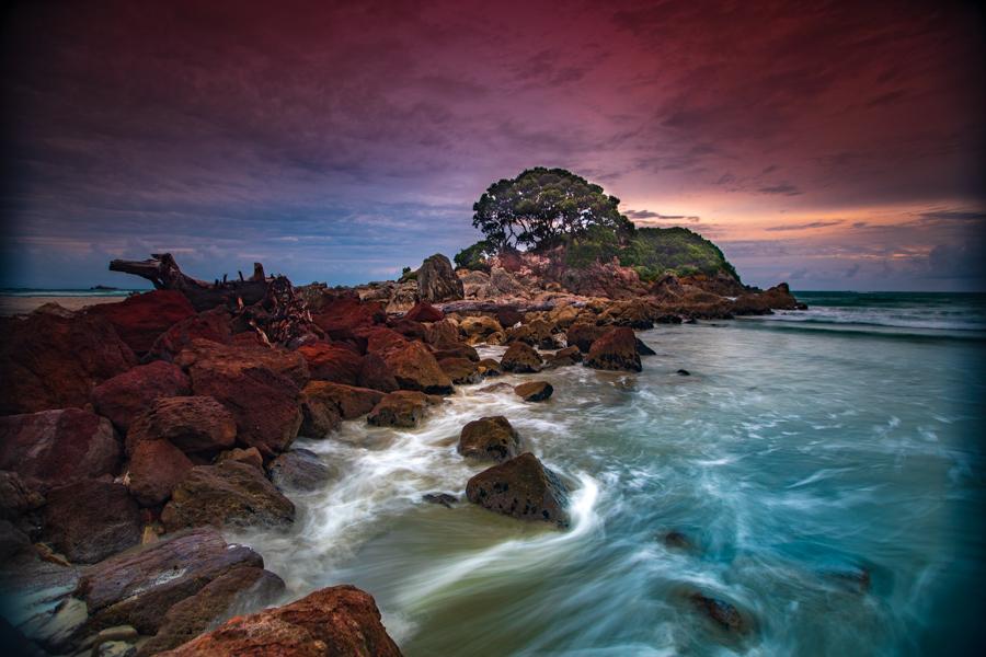 Mt Maunganui rocky beach sunrise Tauranga North Island, New Zealand