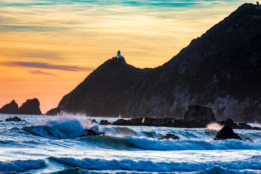 Nugget Point Lighthouse sunrise, New Zealand