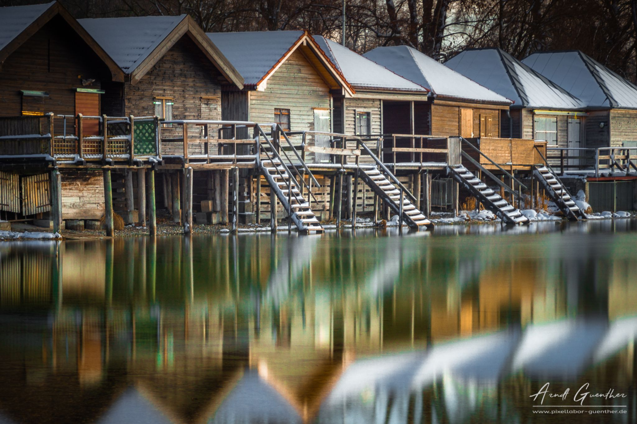 Seven cabins at Lake Ammer, Germany