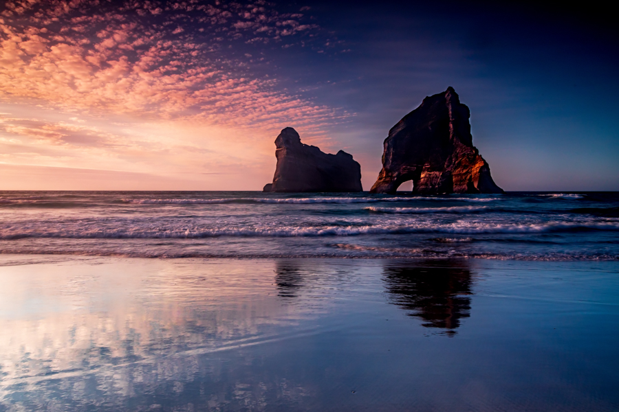 Sunset Wharariki Beach South Island, New Zealand