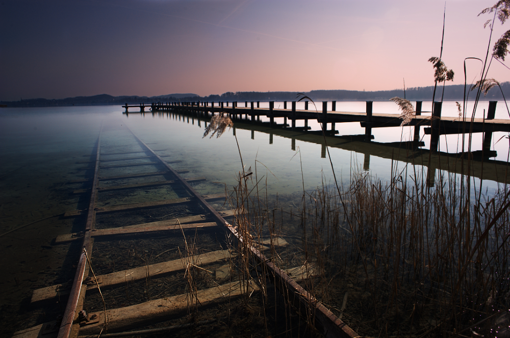 Amersee submerged train track, Germany