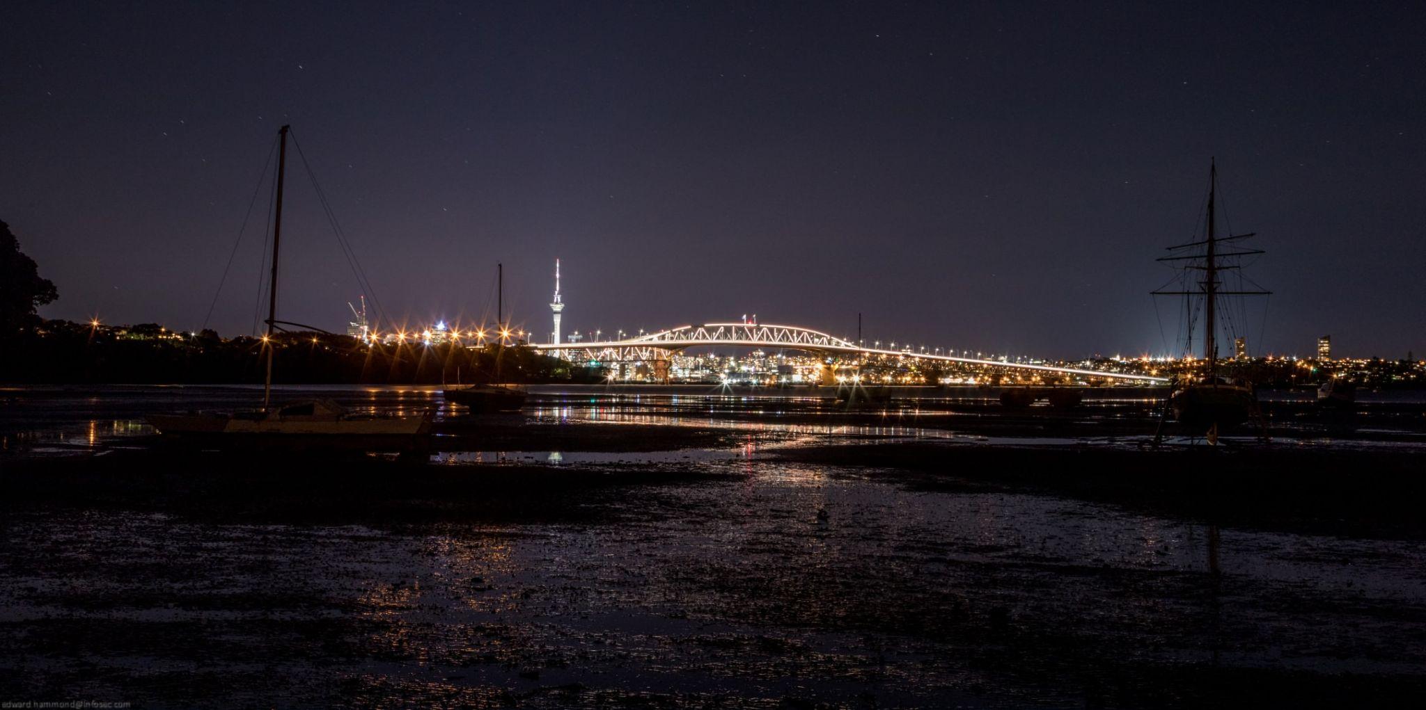 Auckland Harbour Bridge and Sky Tower, New Zealand